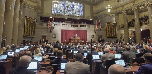The Missouri House floor for the 2019 State of the State address.