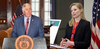 Gov. Mike Parson and State Auditor Nicole Galloway