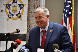 Missouri Gov. Mike Parson at a bill signing in St. Louis in October 2020 (photo courtesy of Missouri Governor's Office)