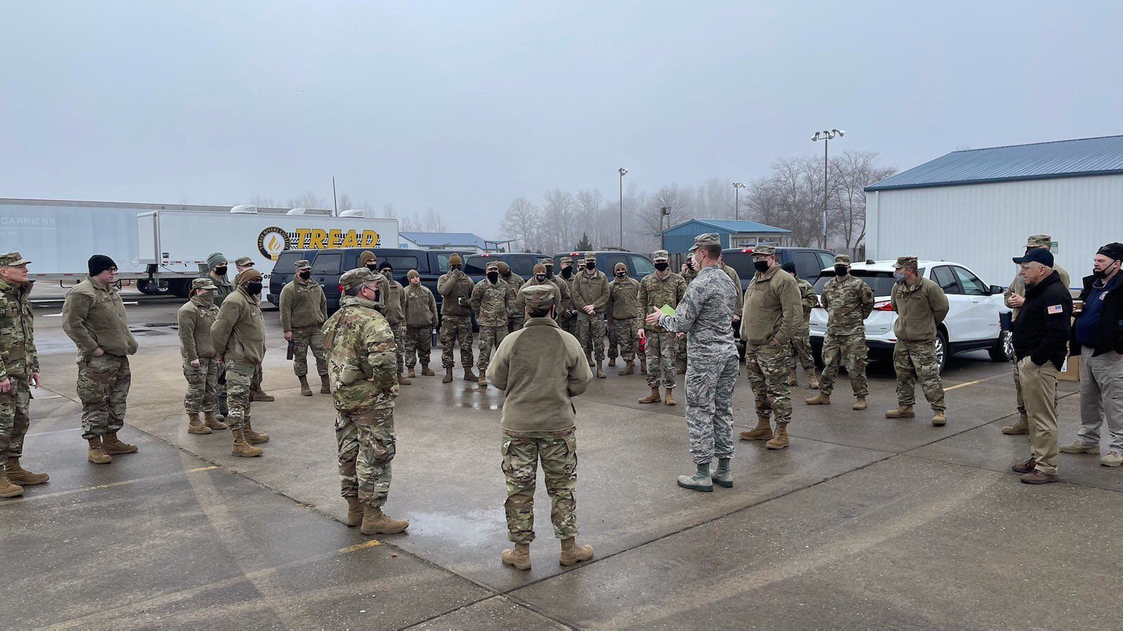 Members of the Missouri National Guard hosting Missouri's first mass COVID-19 vaccination site in Poplar Bluff on Jan. 22.