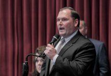 House Speaker Rob Vescovo, R-Arnold, speaks during floor debate of HB 349.