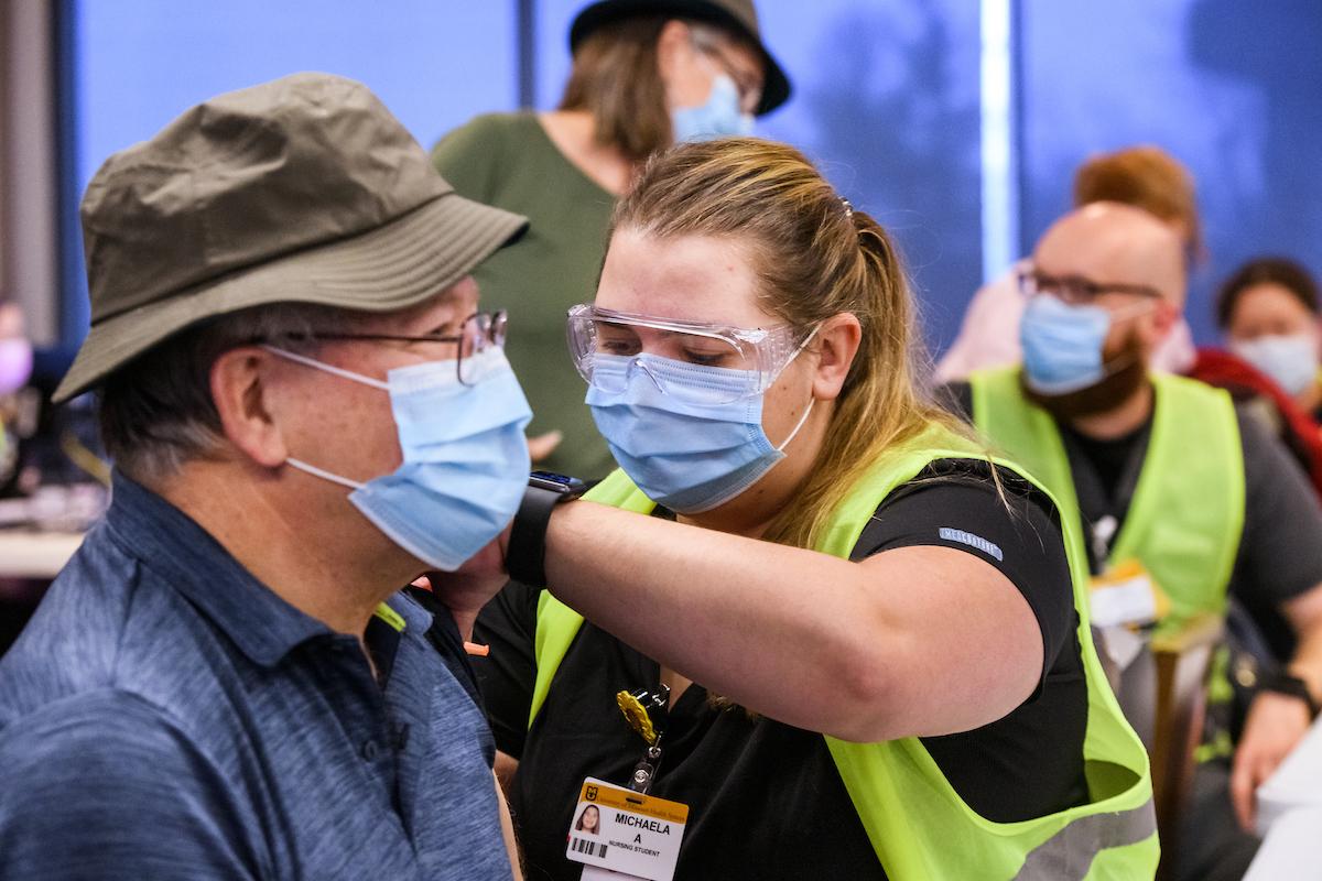 Wayne Lovern receives his COVID-19 vaccine