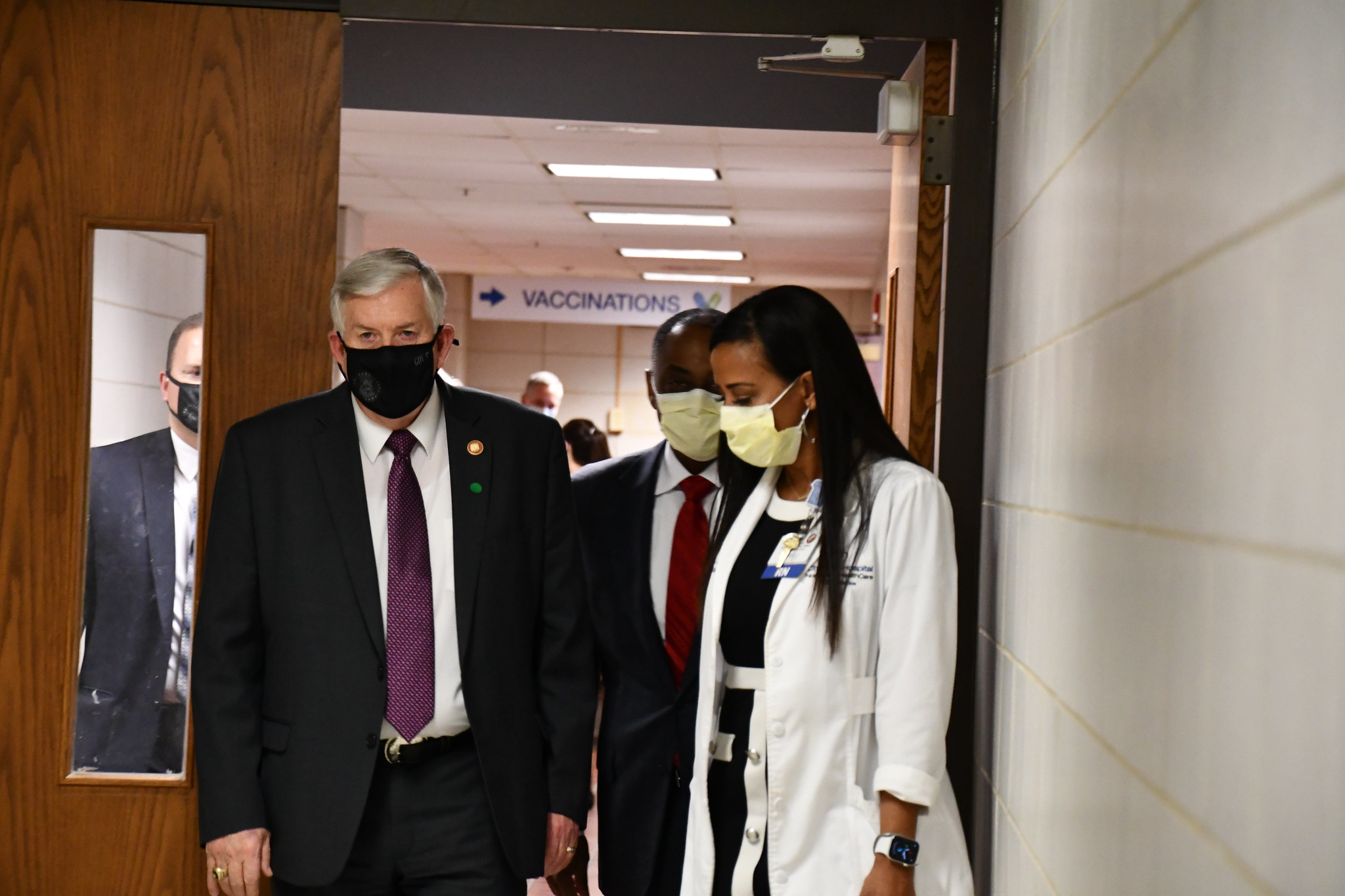 Gov. Mike Parson visits a vaccination clinic hosted by BJC HealthCare at Christian Hospital Northeast on Thursday, March 4, 2021