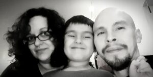 Nina Canaleo, with her six-year-old son Timothy, and his dad Timothy Ponder