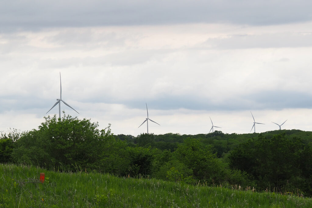 Wind turbines dominate the sky in Nemaha County, Kansas, where NextEra has a wind farm.