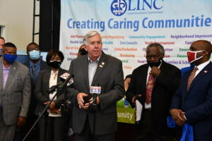 Gov. Mike Parson speaks at vaccine clinic
