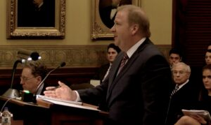Attorney Chuck Hatfield on Tuesday argues for the Missouri Supreme Court to order the state to expand Medicaid coverage under Amendment 2. (Screenshot from pool video provided by KMIZ-TV)